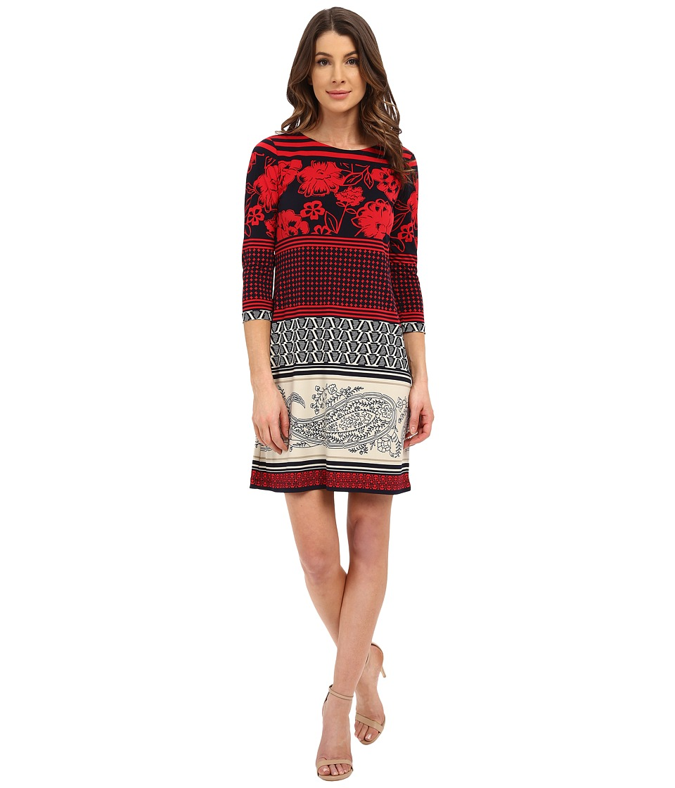 Donna Morgan 3/4 Sleeve Printed Jersey Shift Dress Cherry/Midnight Womens Dress