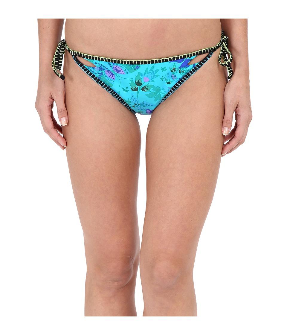 Nanette Lepore Jakarta Jaguar Vamp Reversible Bottoms Turquoise Womens Swimwear