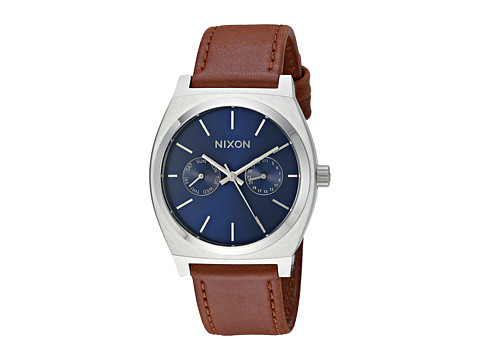Nixon Time Teller Deluxe Leather - Navy Sunray/Brown