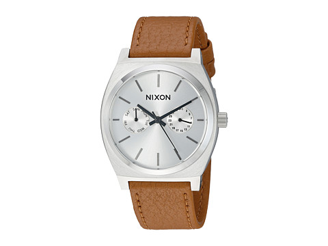 Nixon Time Teller Deluxe Leather - Silver Sunray/Saddle