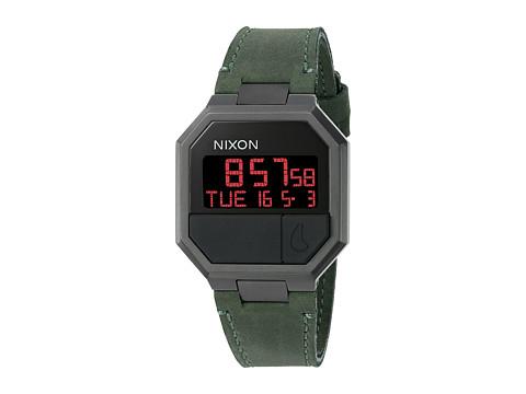 Nixon Re-Run Leather - All Black/Green