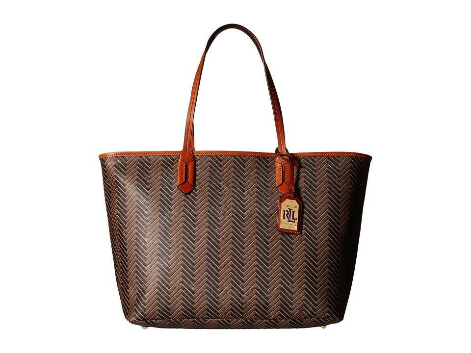 LAUREN Ralph Lauren - Boswell Classic Tote (Brown/Tan) Tote Handbags