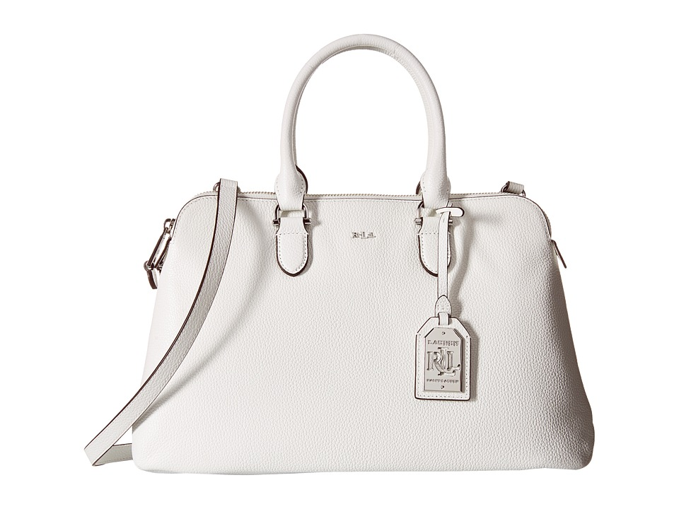 LAUREN Ralph Lauren - Harrington Double Zip Dome (Bright White) Handbags