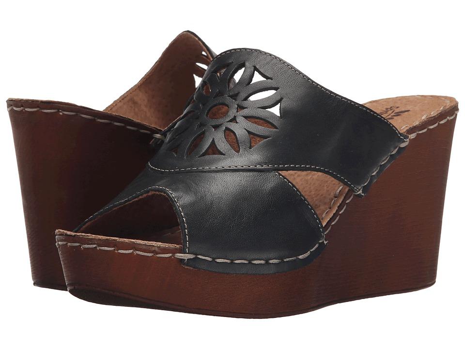 Spring Step Beshka Black Womens Wedge Shoes