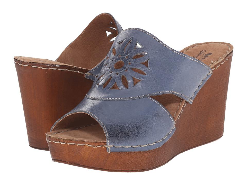 Spring Step Beshka Blue Womens Wedge Shoes