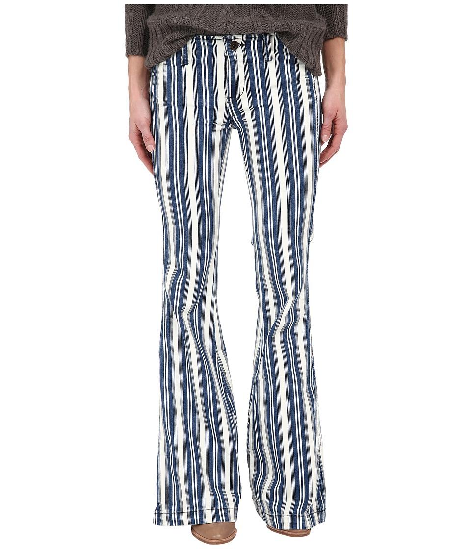 Free People Jolene Stripe Flare Jeans White Indigo Womens Jeans