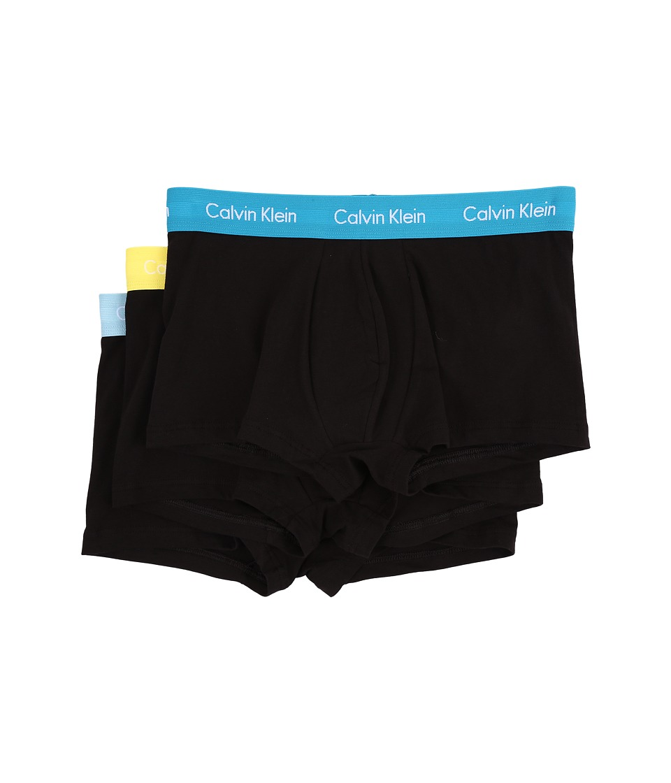 Calvin Klein Underwear Cotton Stretch Low Rise Trunk 3 Pack NU2664 Black Body/Caneel Bay/Solar Yellow/Bridge Blue Mens Underwear