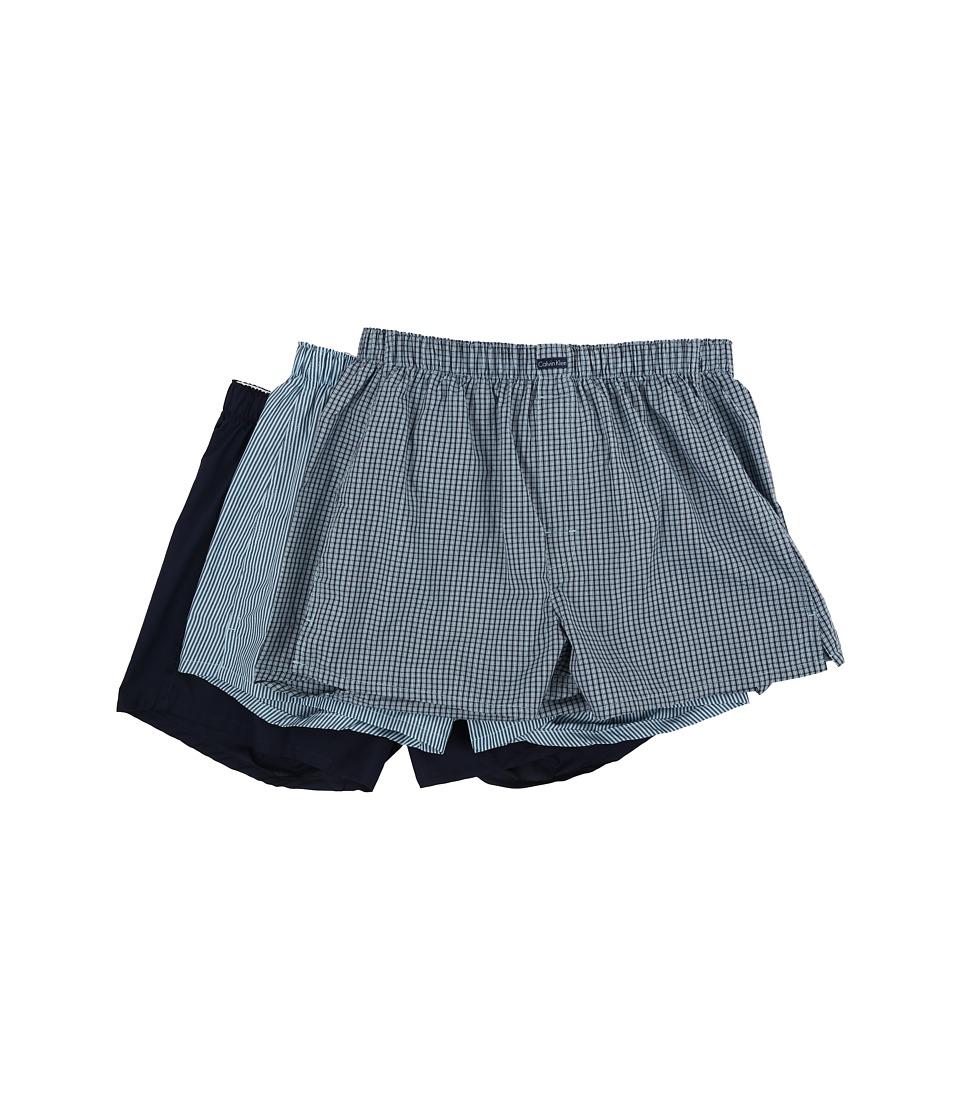 Calvin Klein Underwear 3 Pack Woven Boxers U1732 Cali Check/Blue Shadow/Mark Stripe/Bridge Blue/Blue Shadow Solid Mens Underwear