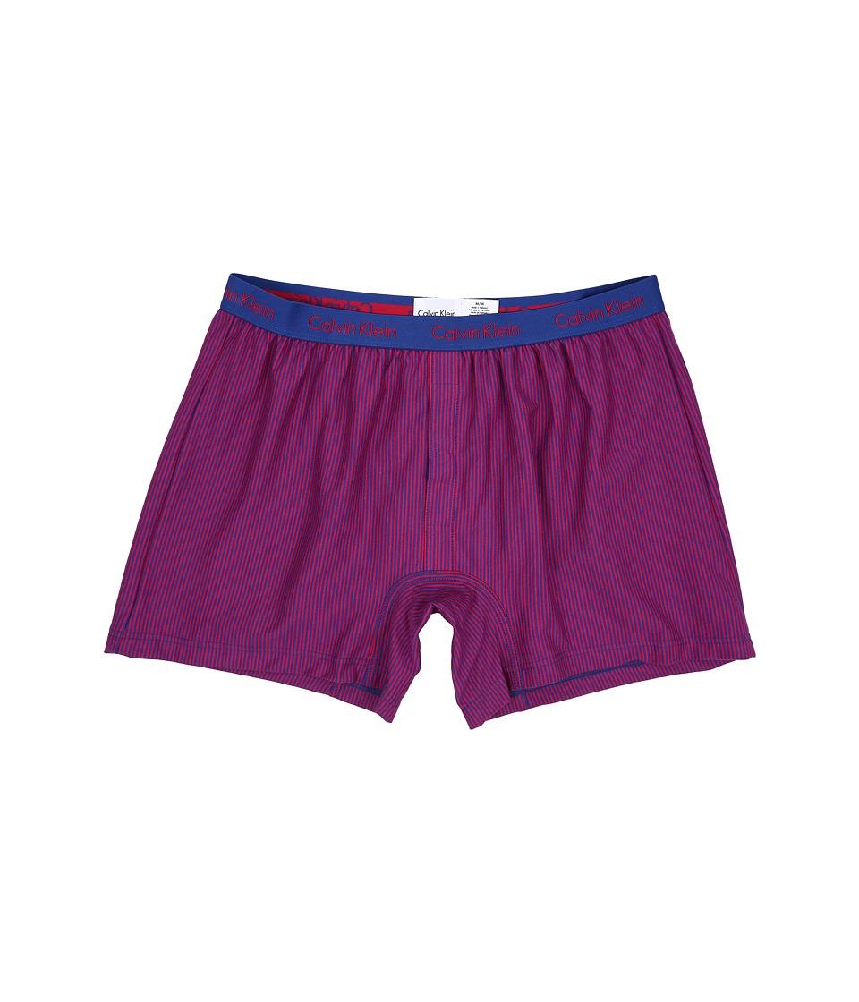 Calvin Klein Underwear Boxer Matrix Slim Fit Knit Boxer Mark Stripe/Aztec Blue/Deep Pink Mens Underwear