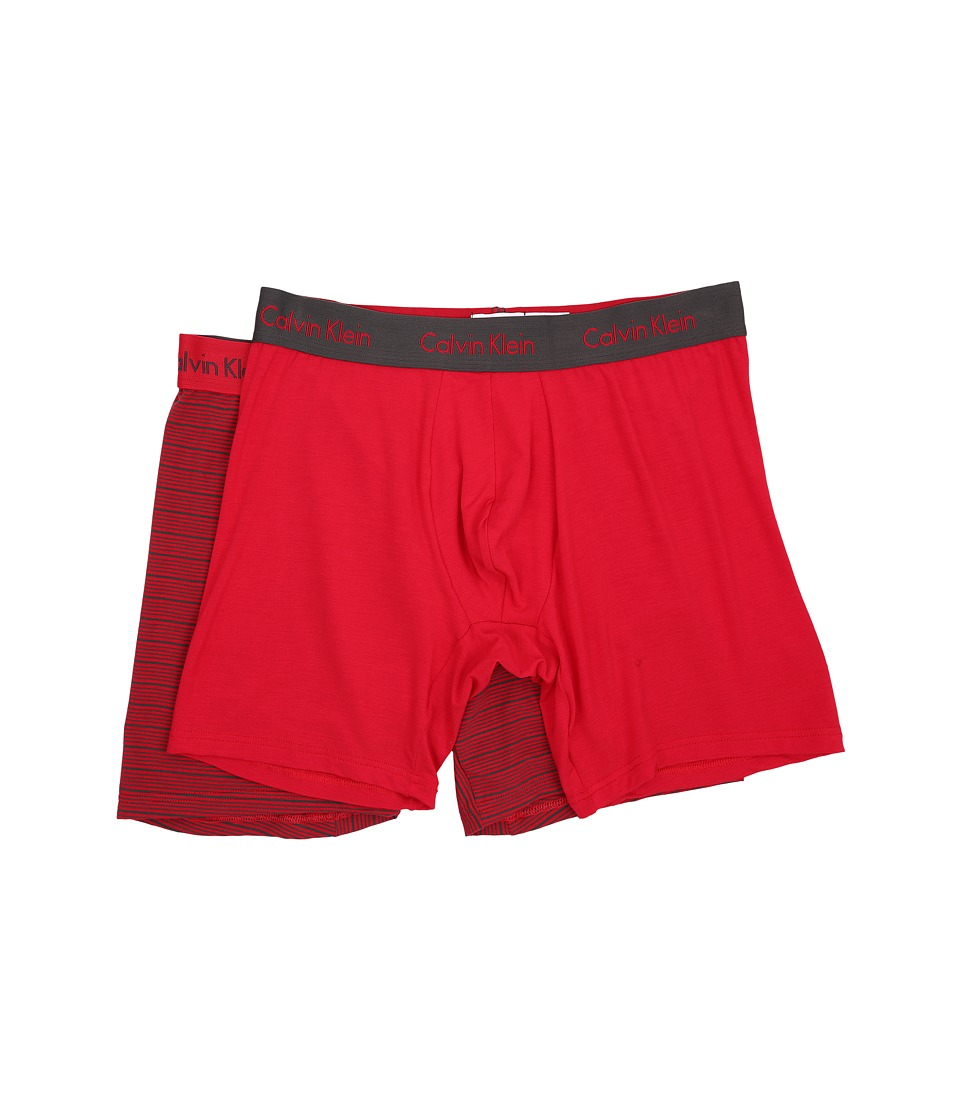 Calvin Klein Underwear 2 Pack Boxer Brief Market Red/Iron Stripe/Market Red Solid Mens Underwear