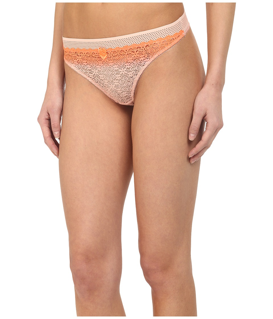 Stella McCartney Mille Drawing Dip Dye Thong Brief Fluo Orange/Pink Clay Womens Underwear