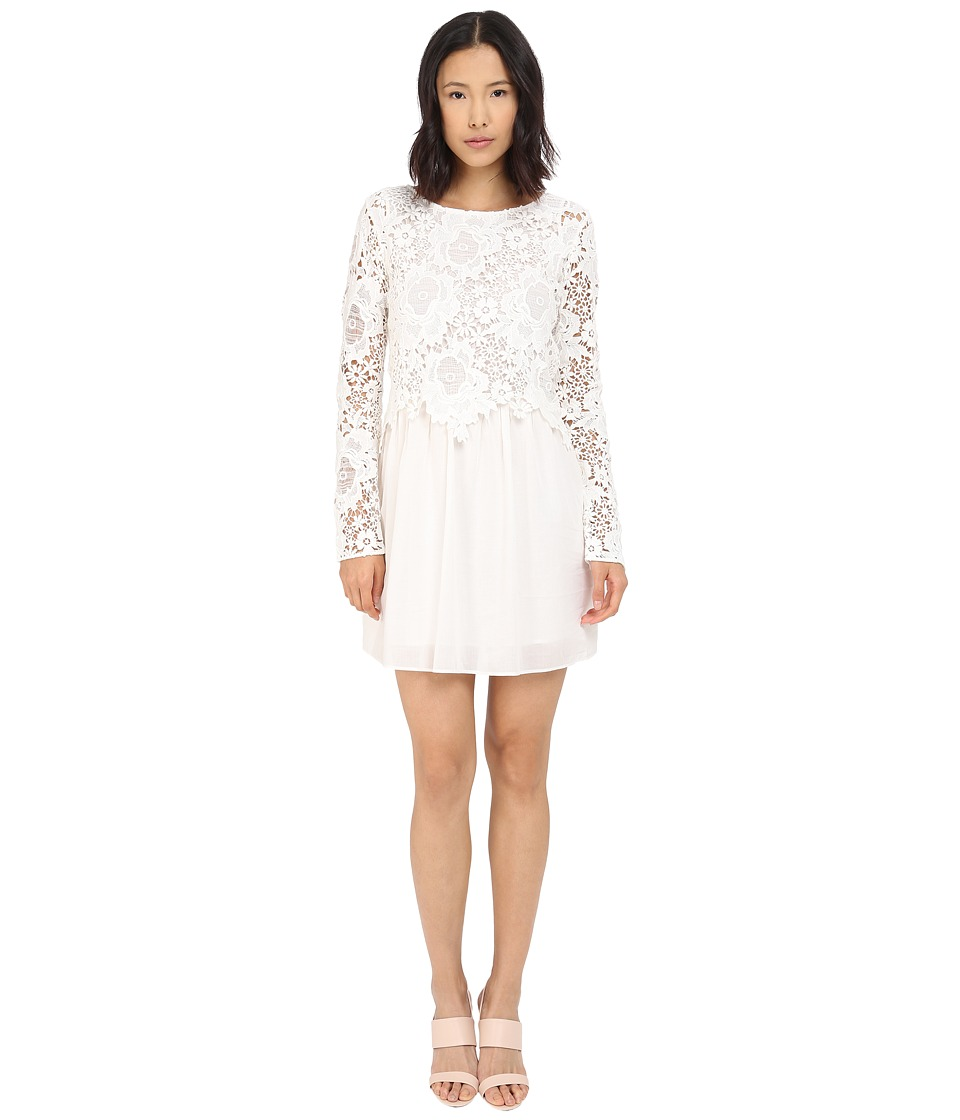 See by Chloe Floral Lace and Cotton Dress Cloud Dancer Womens Dress