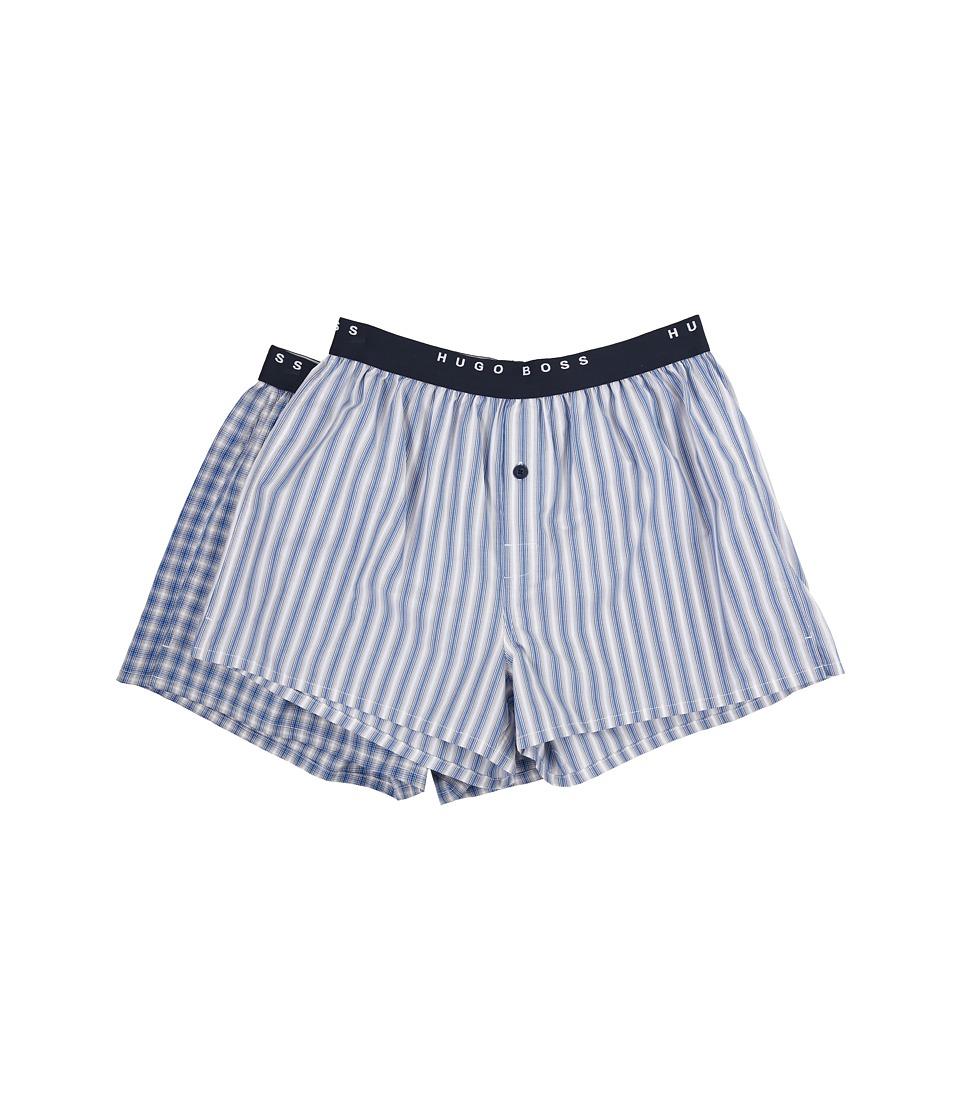 BOSS Hugo Boss 2 Pack Woven Boxer Open Blue Mens Underwear