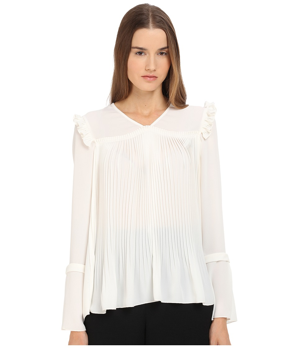 See by Chloe Feminine Pleats Top Off White Womens Blouse