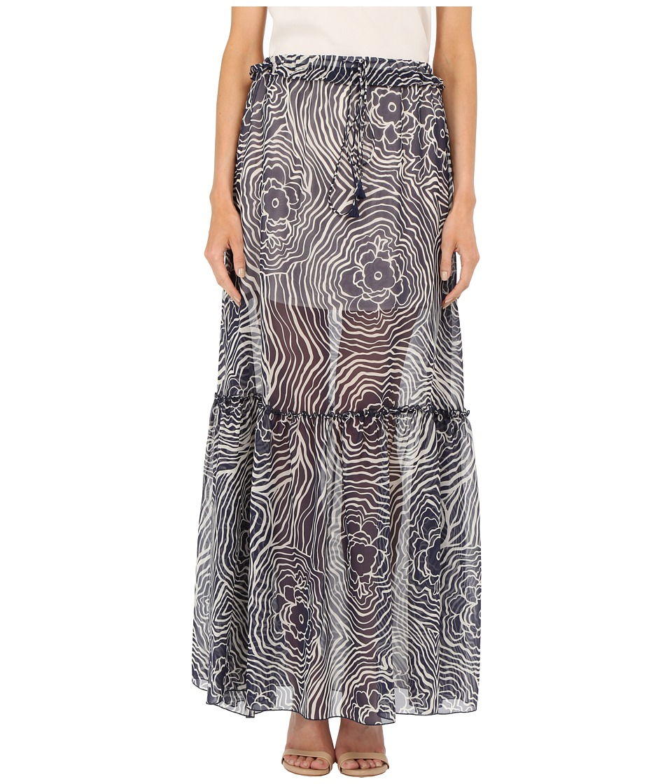 See by Chloe Floral Waves on Silk Georgette Skirt Navy Womens Skirt