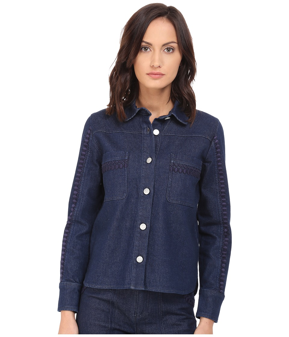 See by Chloe Embellished Denim Top Indigo Womens Long Sleeve Button Up