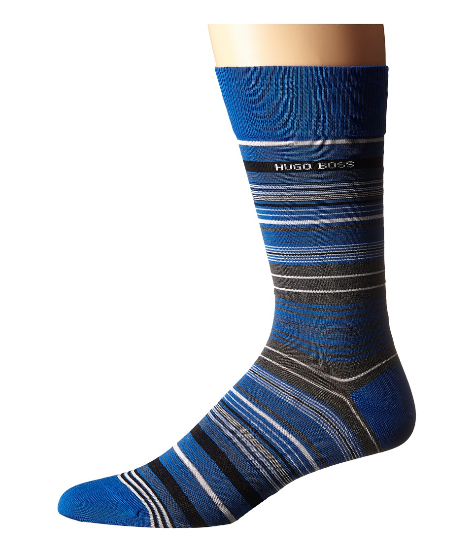 BOSS Hugo Boss Mercerized Stripe Royal Blue Mens Crew Cut Socks Shoes