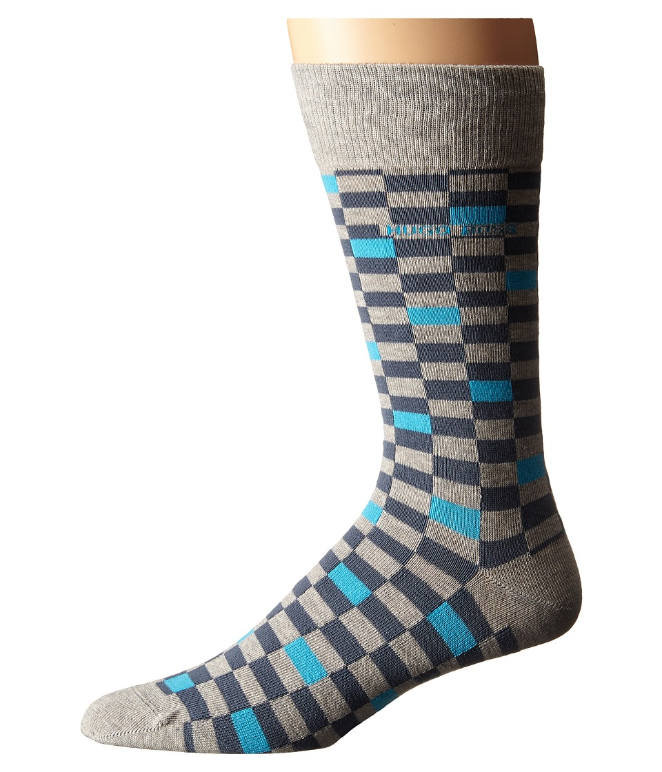 BOSS Hugo Boss Combed Cotton Check Silver Mens Crew Cut Socks Shoes