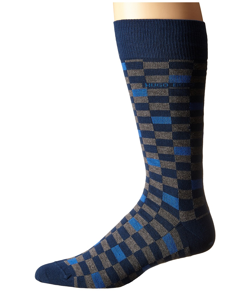 BOSS Hugo Boss Combed Cotton Check Dark Blue Mens Crew Cut Socks Shoes