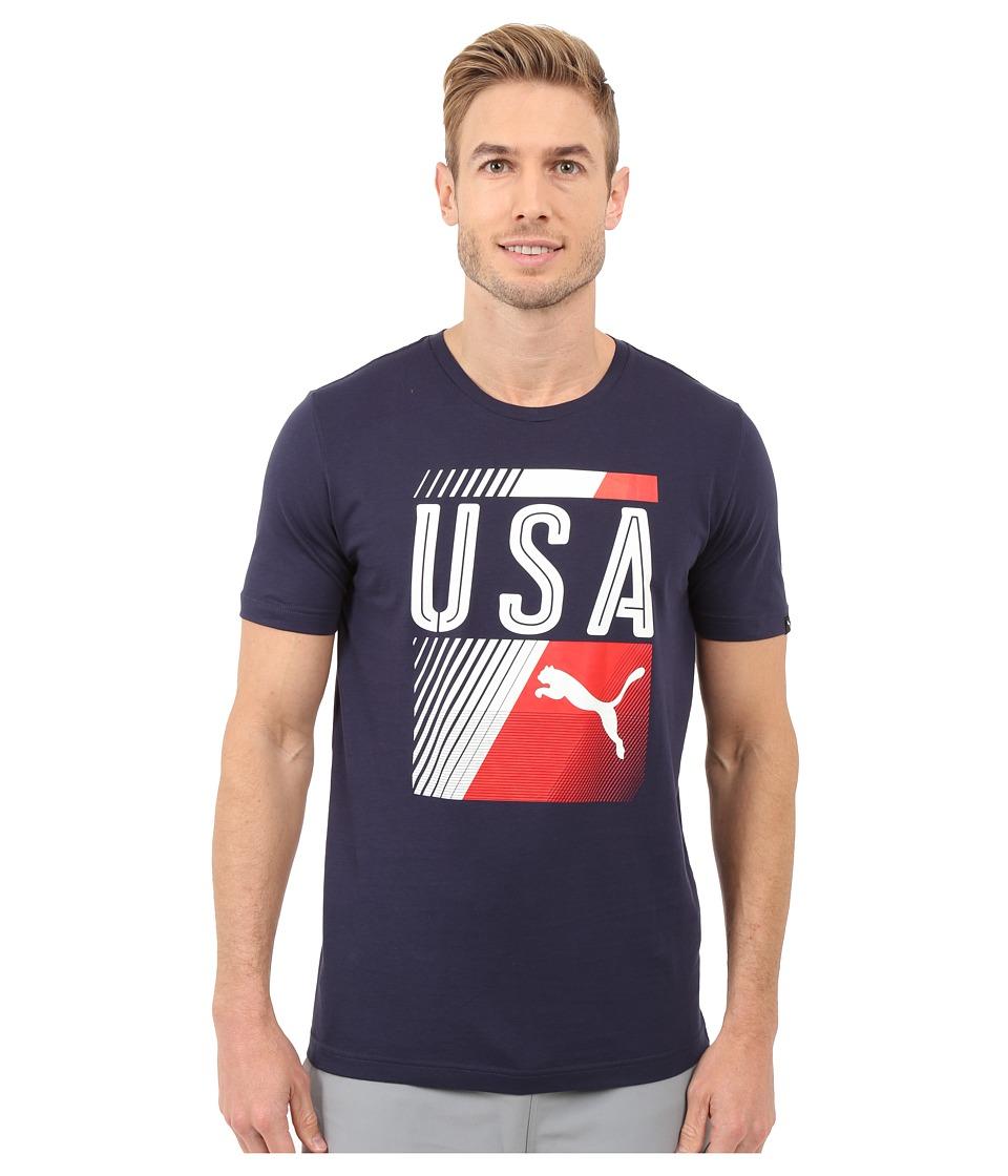 PUMA - Olympic Fan Tee (Peacoat/USA) Men