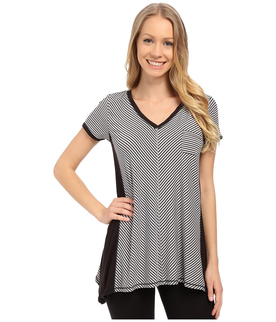 DKNY Urban Essentials Short Sleeve Top Black Stripe Womens Pajama