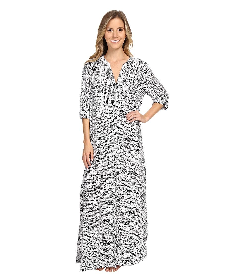 DKNY Group Long Sleeve Shirtdress Black Abstract Womens Pajama
