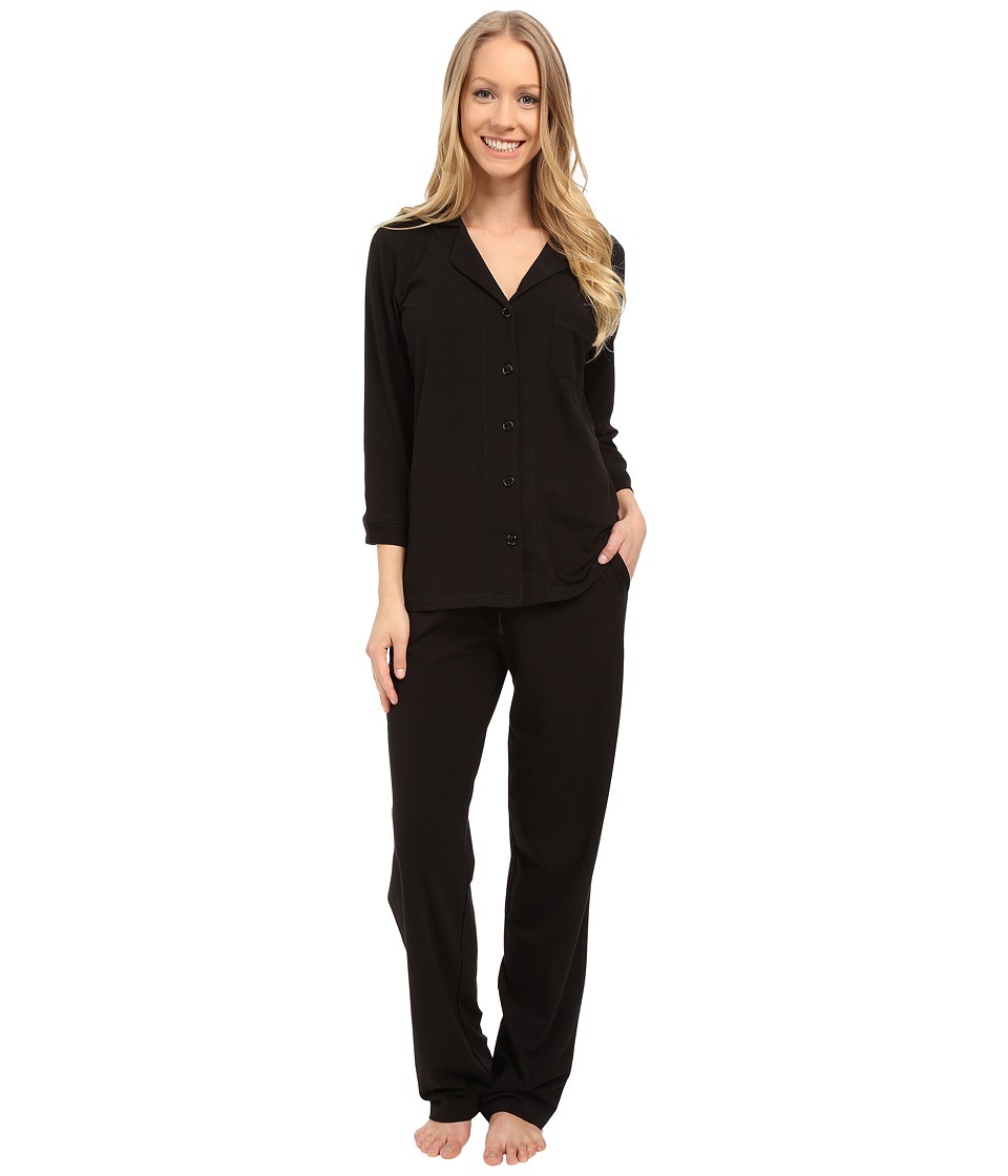 DKNY Stretch Pima Collection 3/4 Sleeve Top and Pants Set Black Womens Pajama Sets