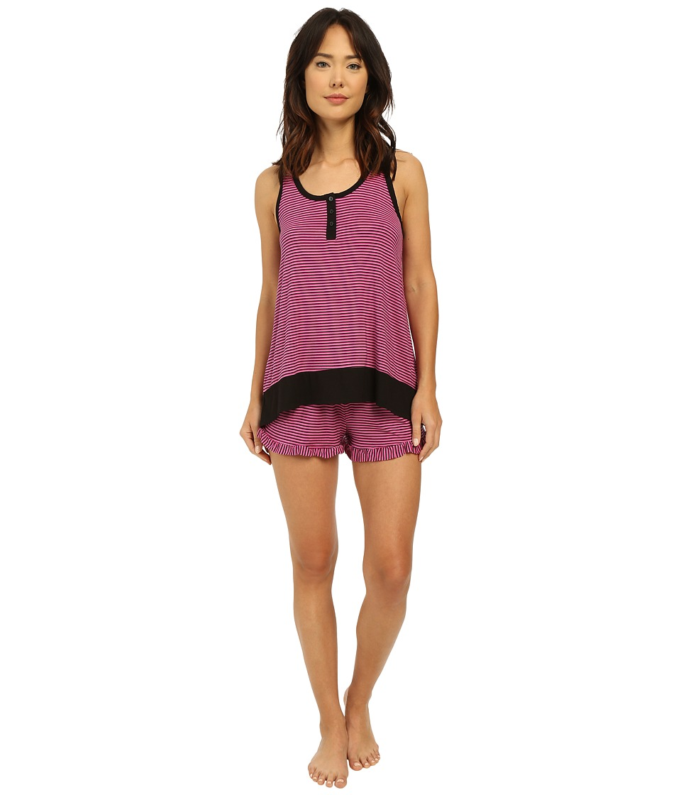 DKNY Prints Appeal Tank Top and Boxer Set Berry Stripe Womens Pajama Sets