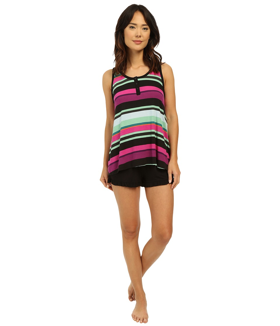 DKNY Prints Appeal Tank Top and Boxer Set Black Stripe Womens Pajama Sets