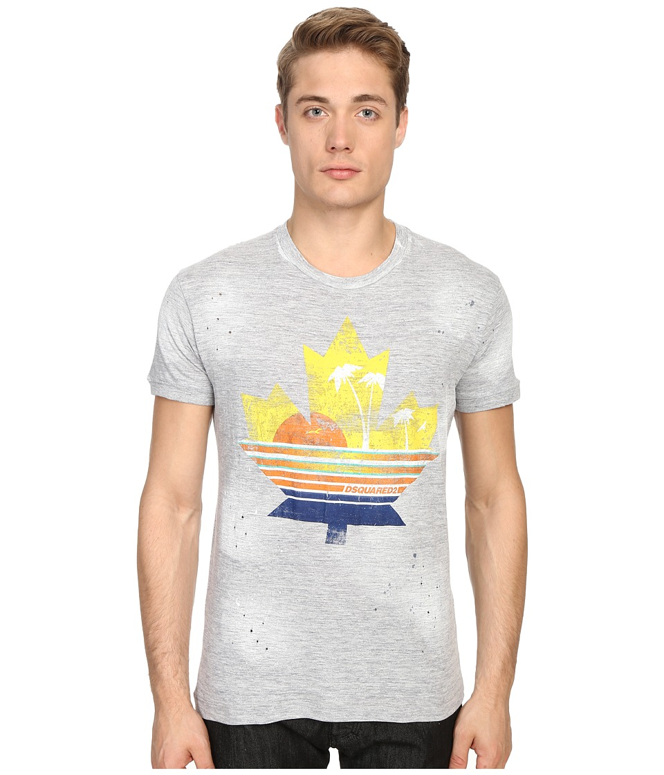 DSQUARED2 - Chic Dan Fit Leaf Tee (Grey Melange) Men