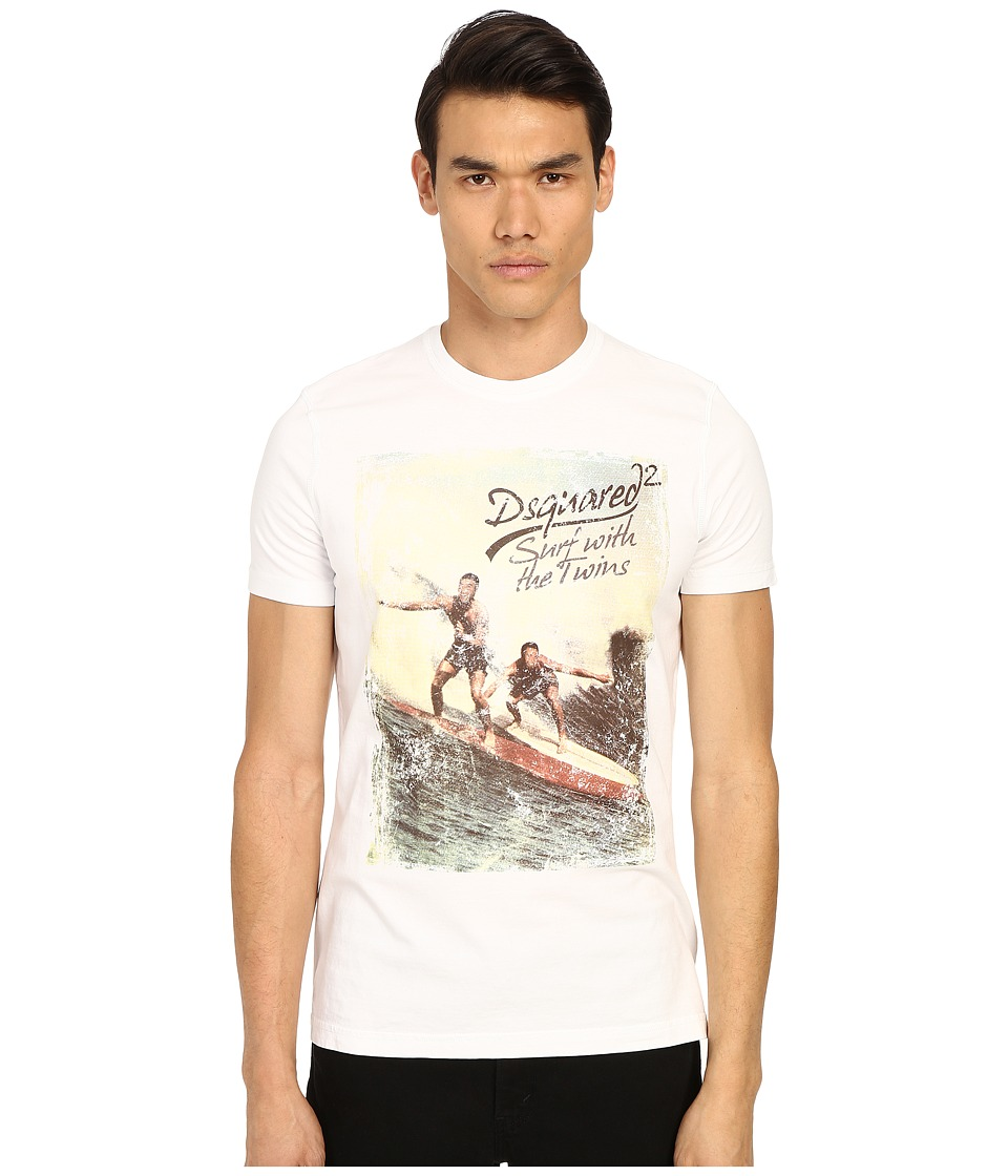 DSQUARED2 Classic Fit Vintage Rainbow Tee White Mens Short Sleeve Pullover