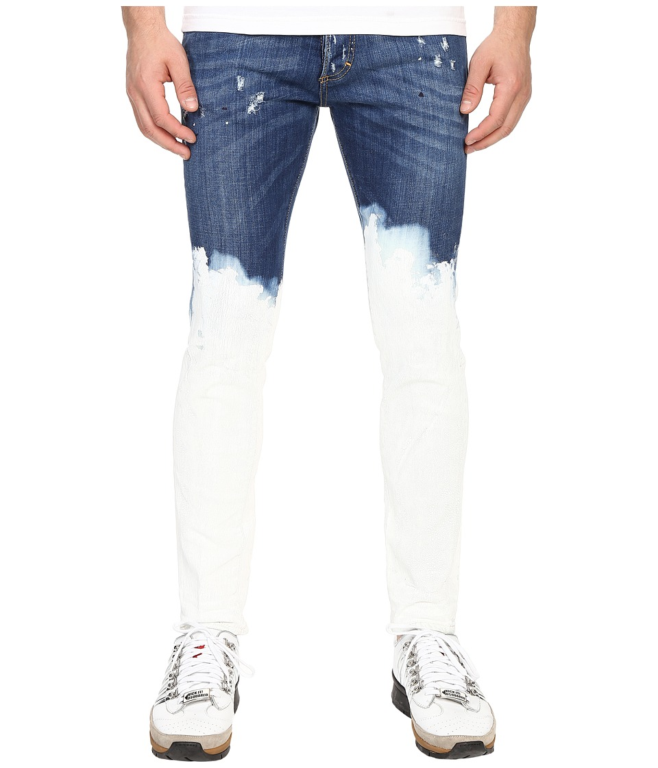 DSQUARED2 Deep Dip Wash Five Pocket Skinny Jeans Blue Mens Jeans