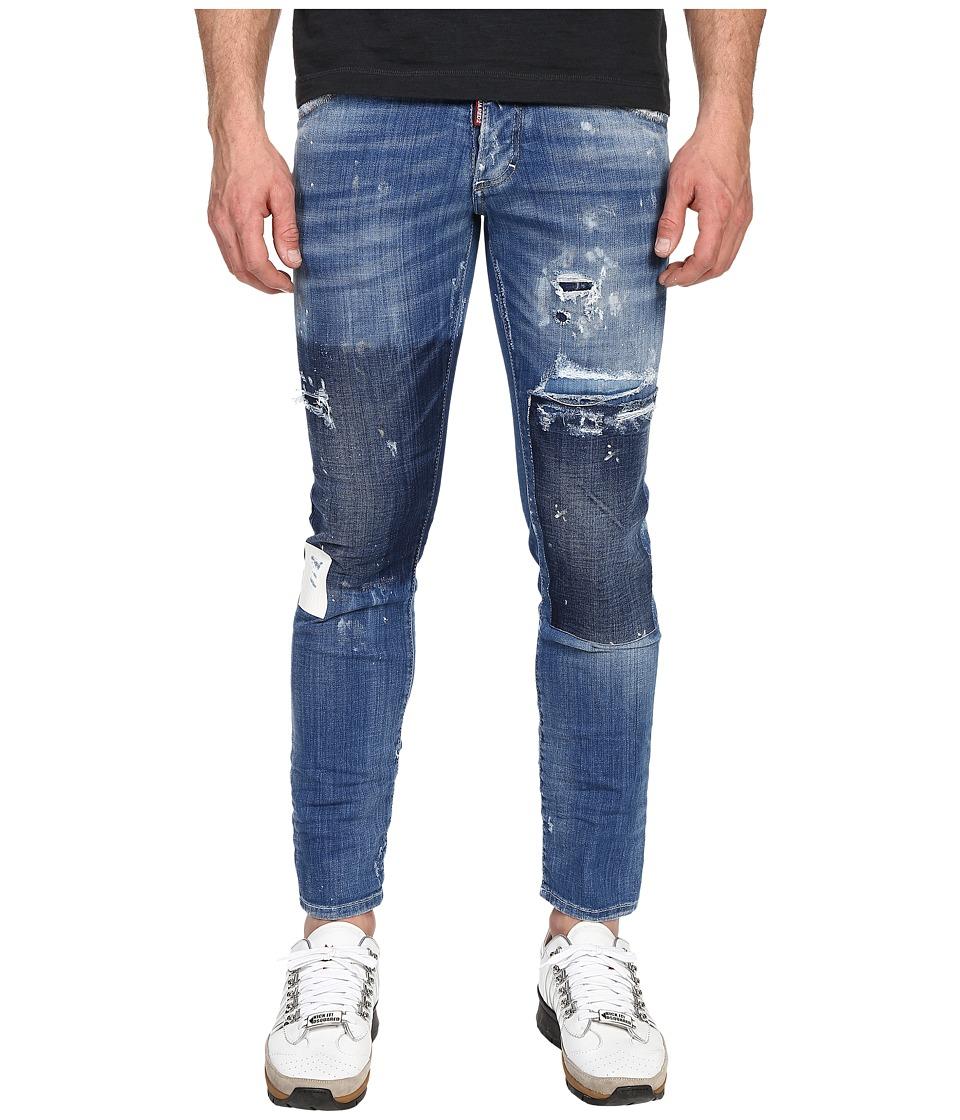 DSQUARED2 Gesso Patch Wash Five Pocket Clement Jeans Blue Mens Jeans