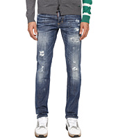 DSQUARED2 - Ripped Black Stitch Wash Five-Pocket Slim Jeans