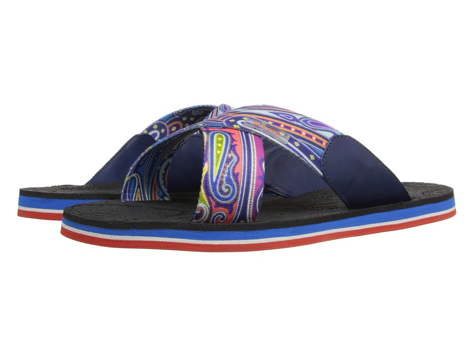 Etro Crisscross Printed Sandal with Paisley Footbed Black Print Mens Sandals