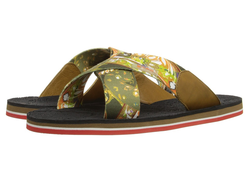 Etro Crisscross Printed Sandal with Paisley Footbed Multi Print Mens Sandals