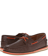 Etro - Paisley Embossed Leather Boat Shoe