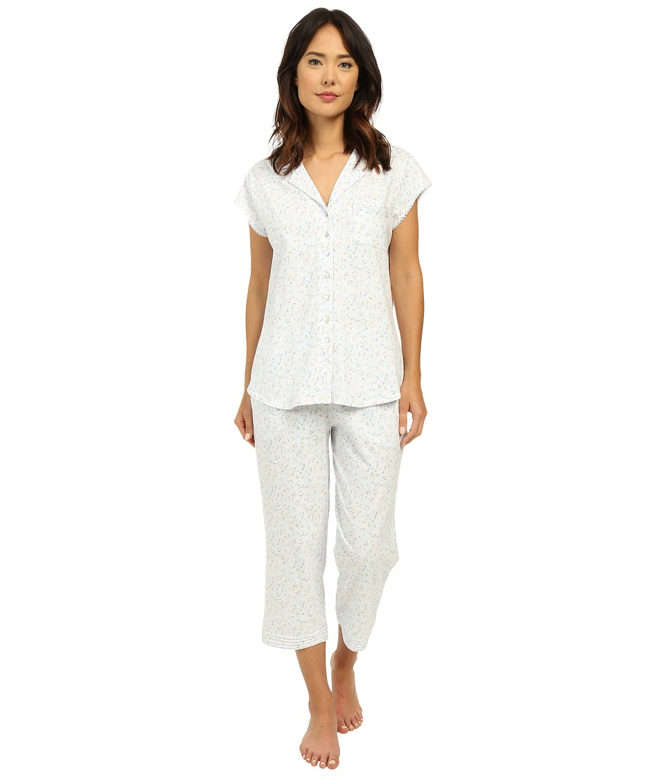 Eileen West Group Notch Collar Capris PJ White Ground/Multi Bud Toss Womens Pajama Sets