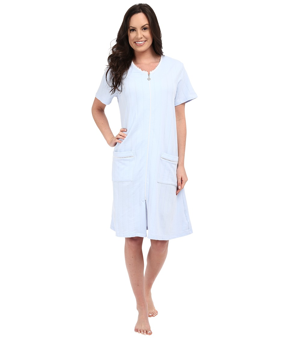 Eileen West Group Short Zip Robe Solid Light Blue Womens Robe