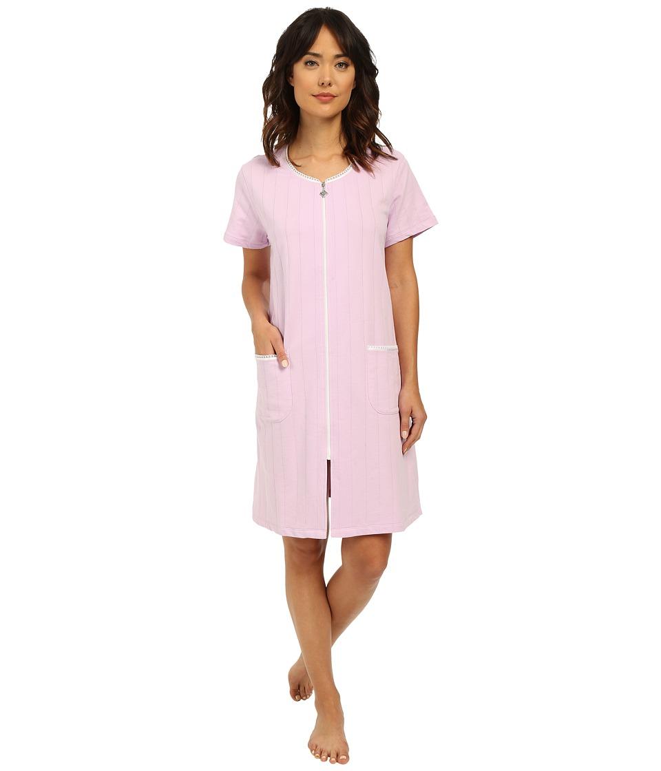Eileen West Group Short Zip Robe Solid Purple Womens Robe