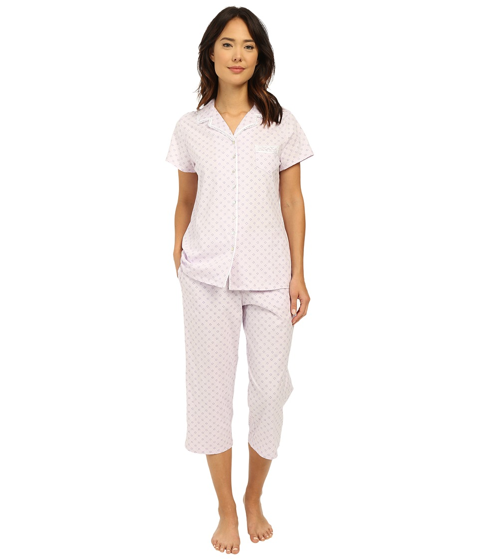 Eileen West Group Notch Collar Capris PJ Light Lilac Ground Diamond Womens Pajama Sets