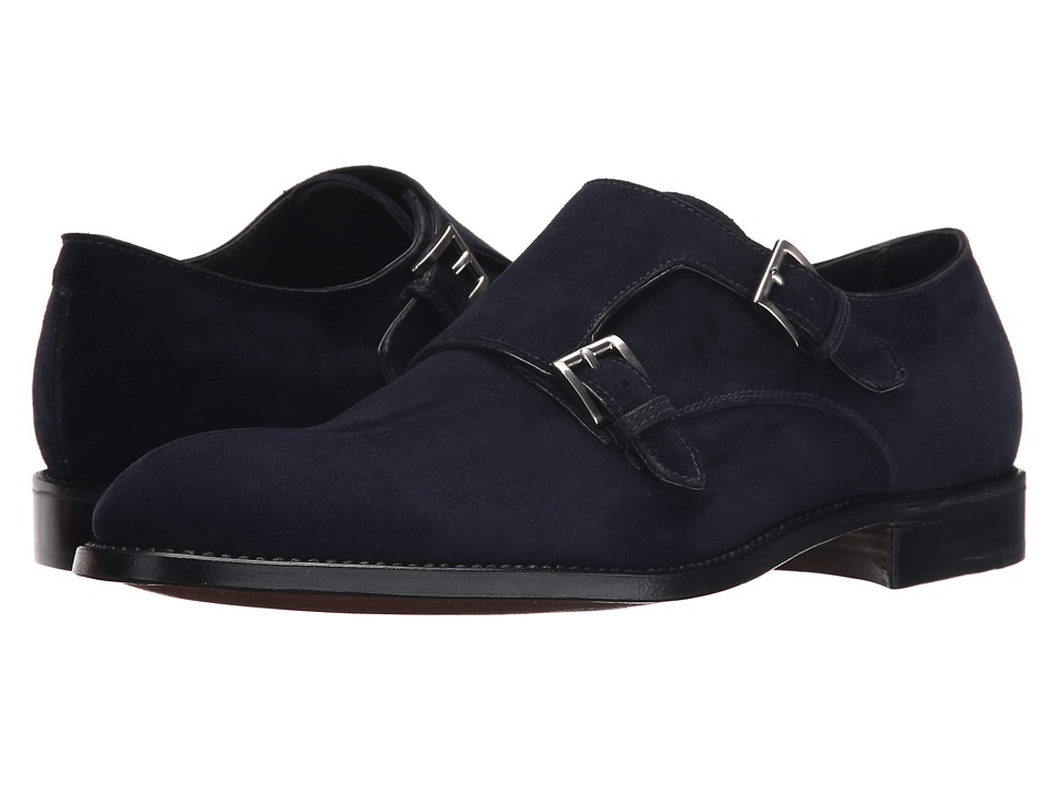 Gravati Velukid Plain Toe Double Monk Strap Navy Mens Monkstrap Shoes
