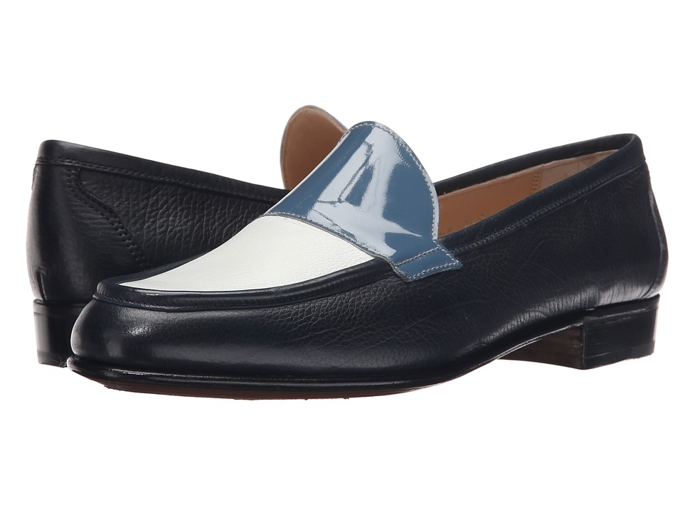 Gravati Calf Leather Loafer Navy/White/Blue Womens Slip on Dress Shoes