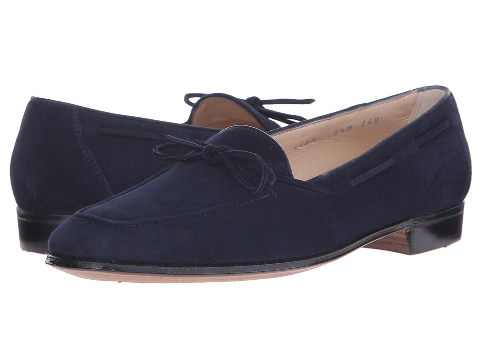 Gravati - Bowed Velukid Slip-On Loafer (Navy) Womens Slip on  Shoes