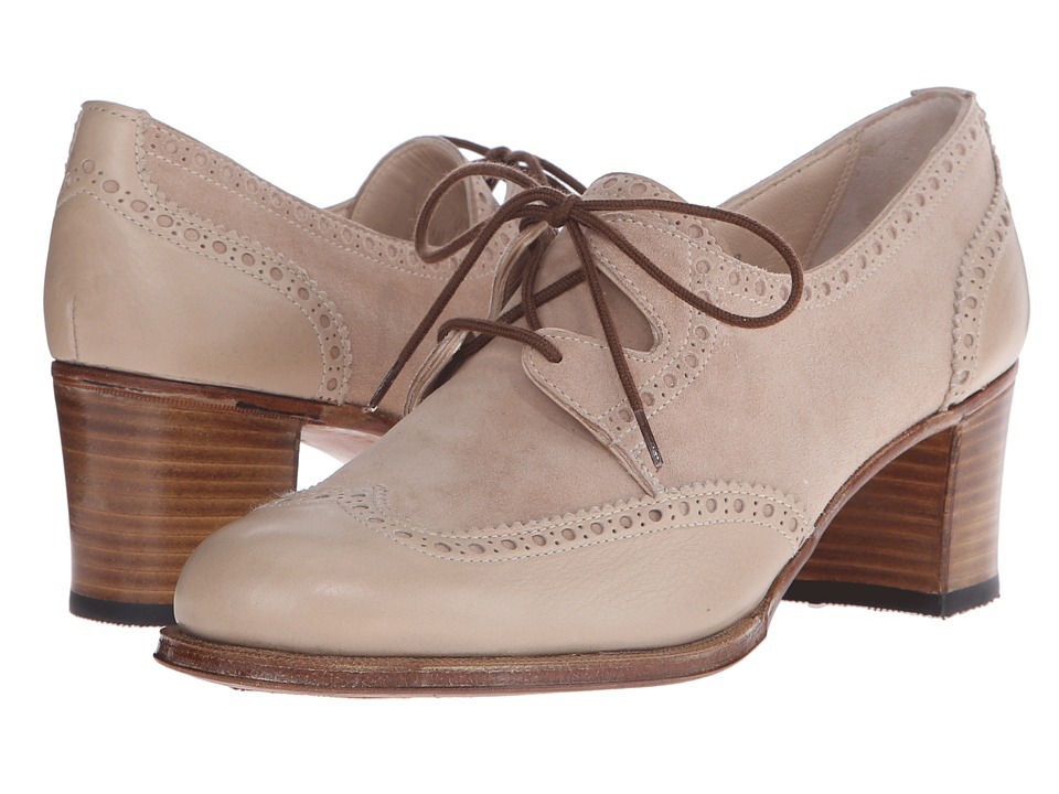 Gravati Mou Leather and Velukid Heeled Wingtip Sand/Deep Sand Womens Lace Up Wing Tip Shoes