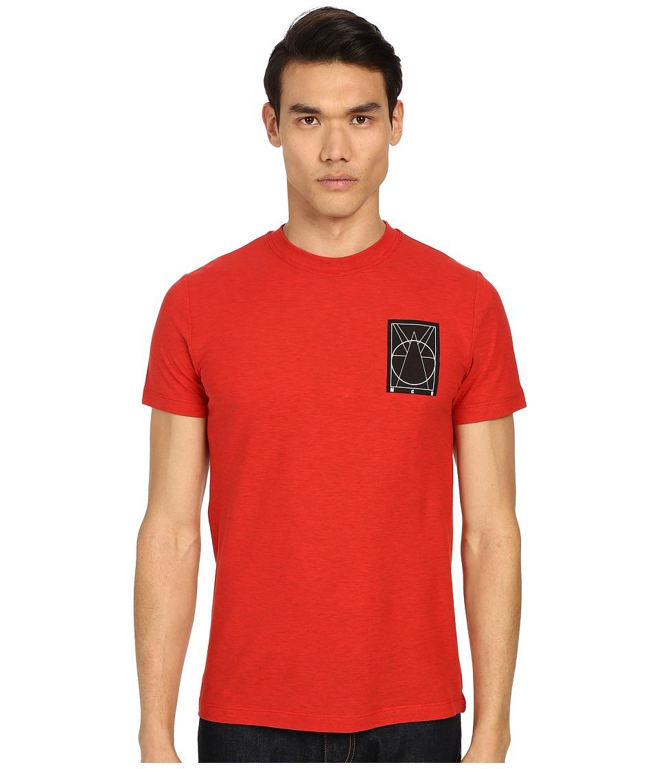 McQ Coverlock Logo Crew Tee Overdye Red Mens Short Sleeve Pullover