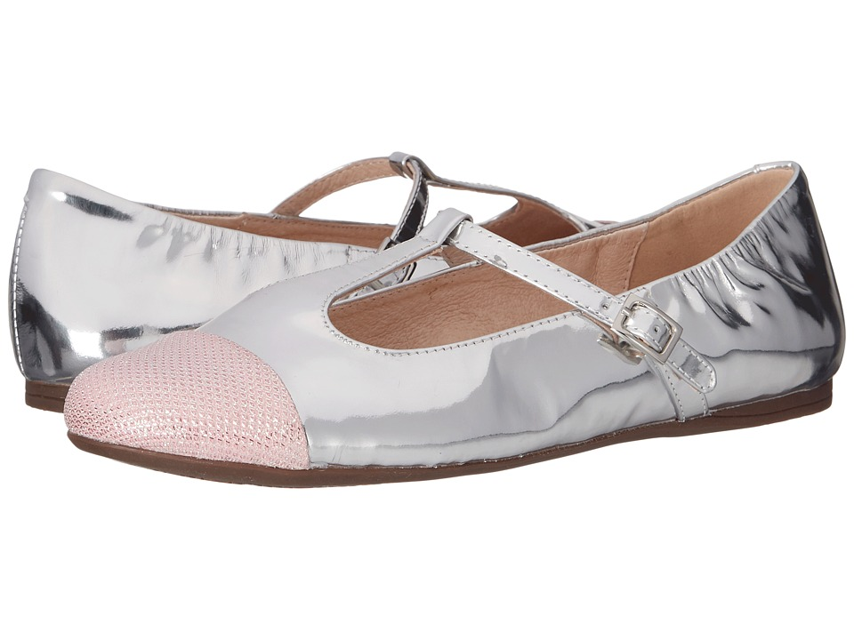 Venettini Kids 55 Annie Little Kid/Big Kid Pink Fabric/Silver Mirror Leather Girls Shoes