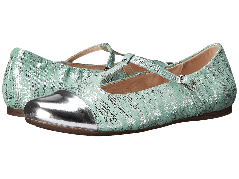 Venettini Kids 55 Annie Little Kid/Big Kid Silver Mirror Leather/Aqua Mirror Patent Girls Shoes