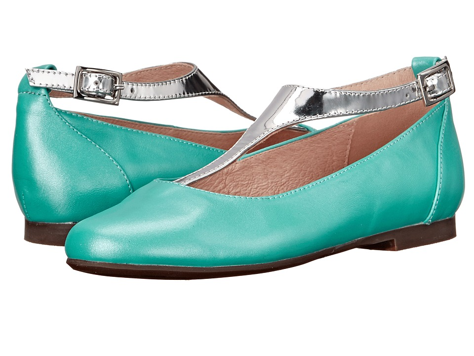 Venettini Kids 55 Francis Little Kid/Big Kid Teal Pearlized Leather/Silver Mirror Leather Girls Shoes