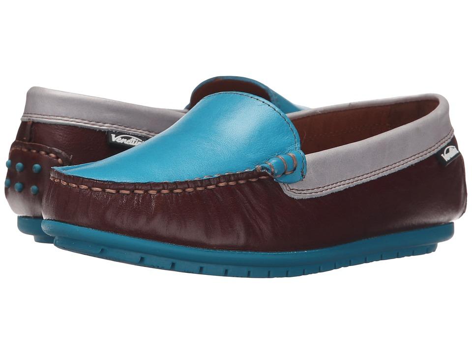 Venettini Kids 55 Gordy Toddler/Little Kid/Big Kid Brown Glazed Leather/Turquoise Glazed Leather/Light Grey Glazed Boys Shoes